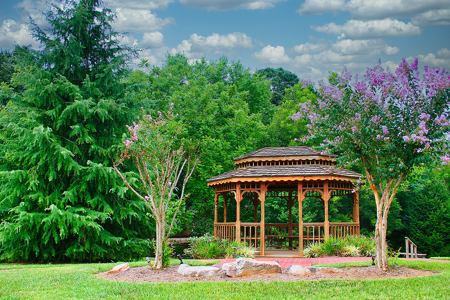 gazebo in town park with crepe myrtles
